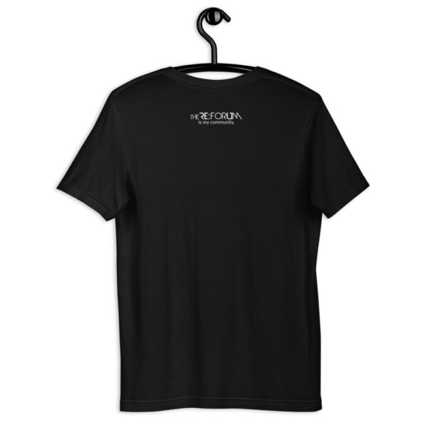 back view of the i am the church t-shirt — black